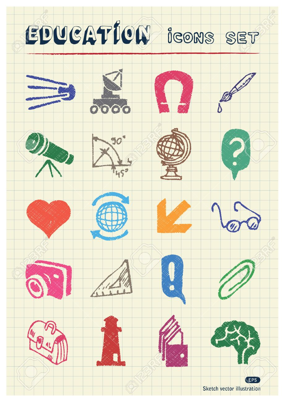 School And Education Web Icons Set Drawn By Color Pencils Hand ...