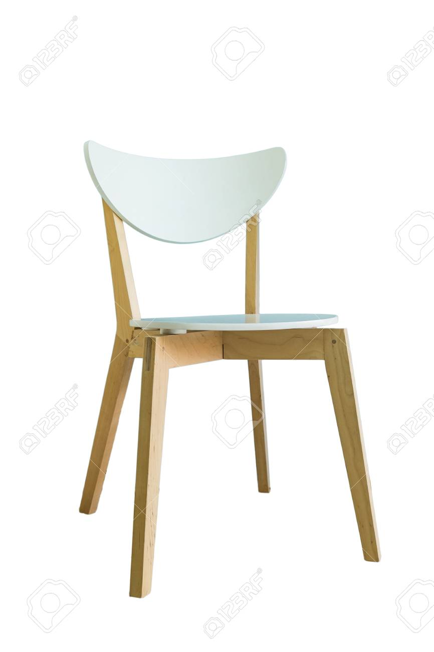Stock Photo   Wooden Chair Cushion White,isolated On Background