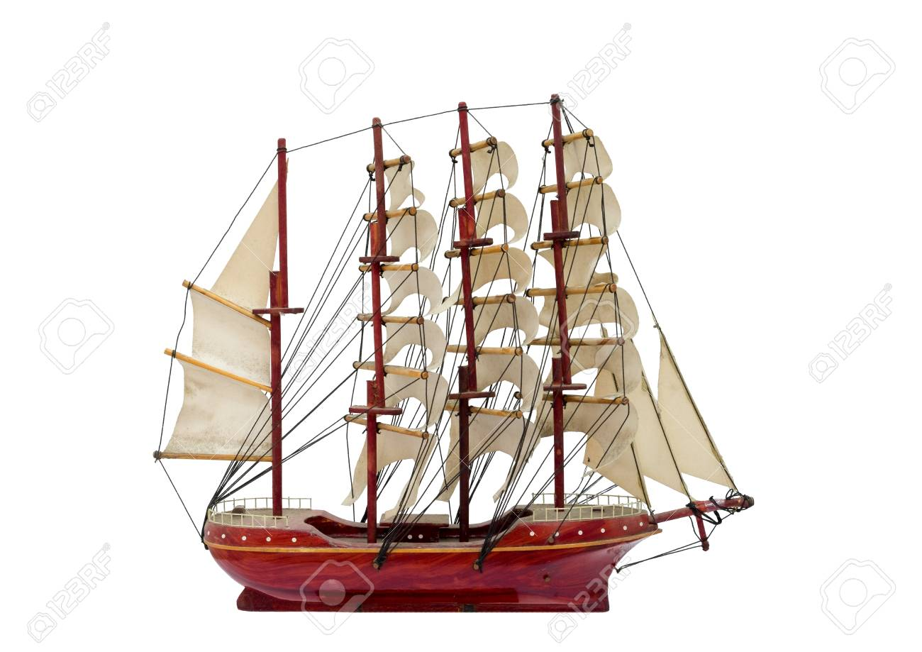 Barque ship gift craft model wooden,isolated white background