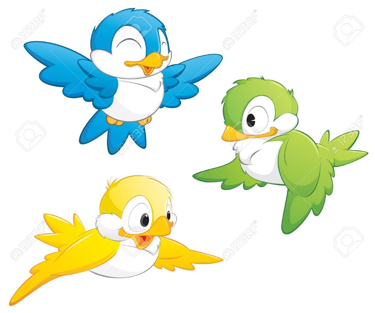 Cute cartoon birds in three colors for design element Stock Vector - 10837215
