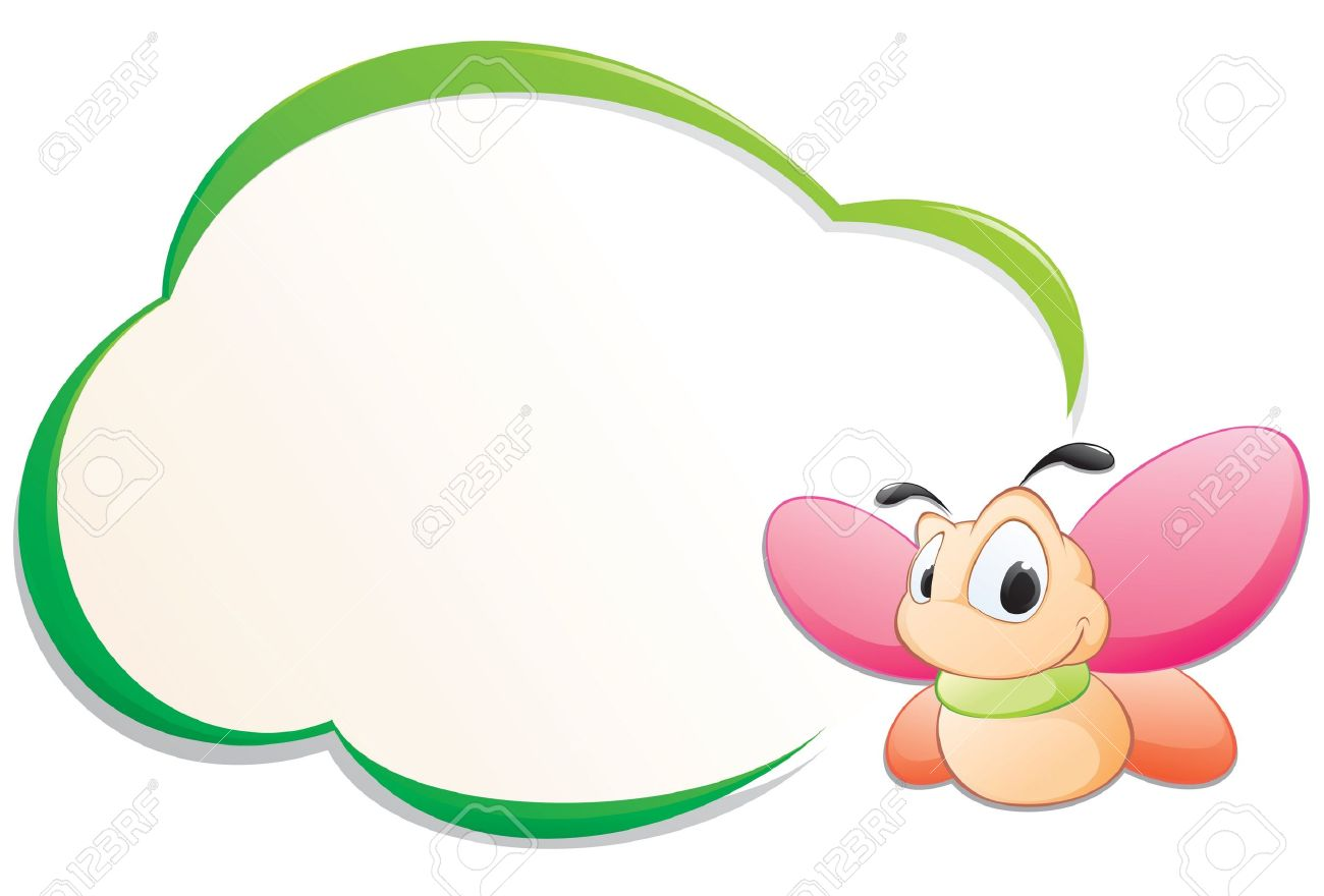 Cute Cartoon Butterfly With Frame For Design Element Stock Vector