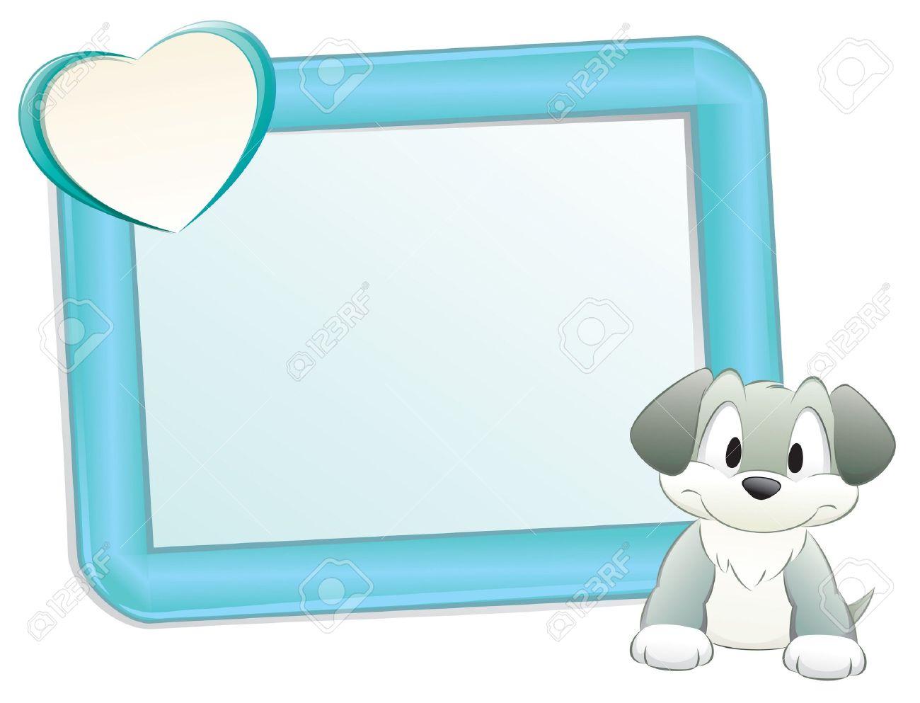 Lindo Perro De Dibujos Animados / Cachorro Con Marco De Elemento De ...