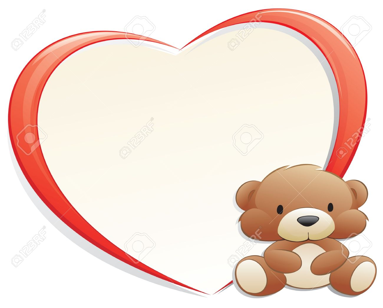 Teddy Bear With Heart-shaped Frame For Design Element Royalty Free ...