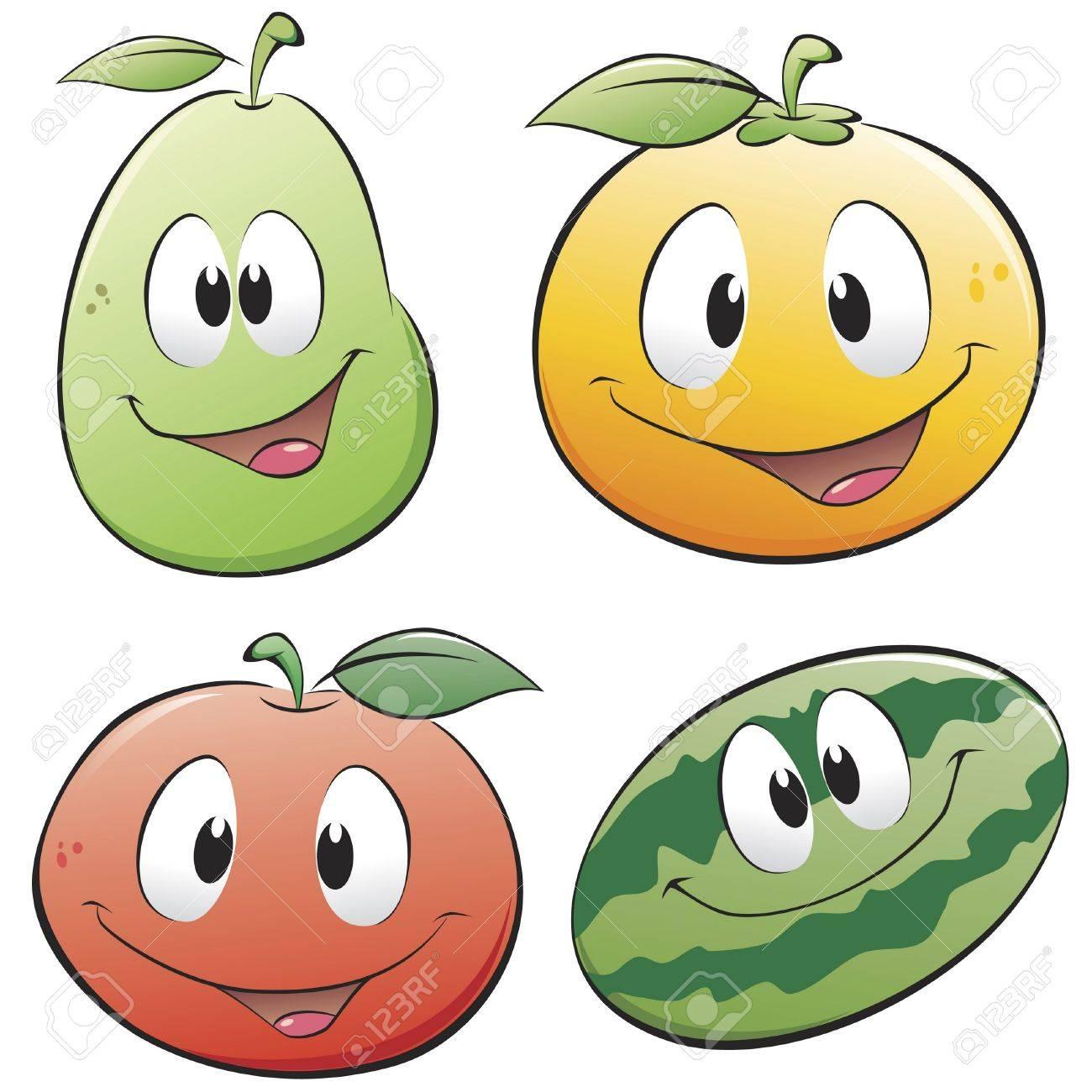 Cute Watermelon Clipart Cute cartoon fruits