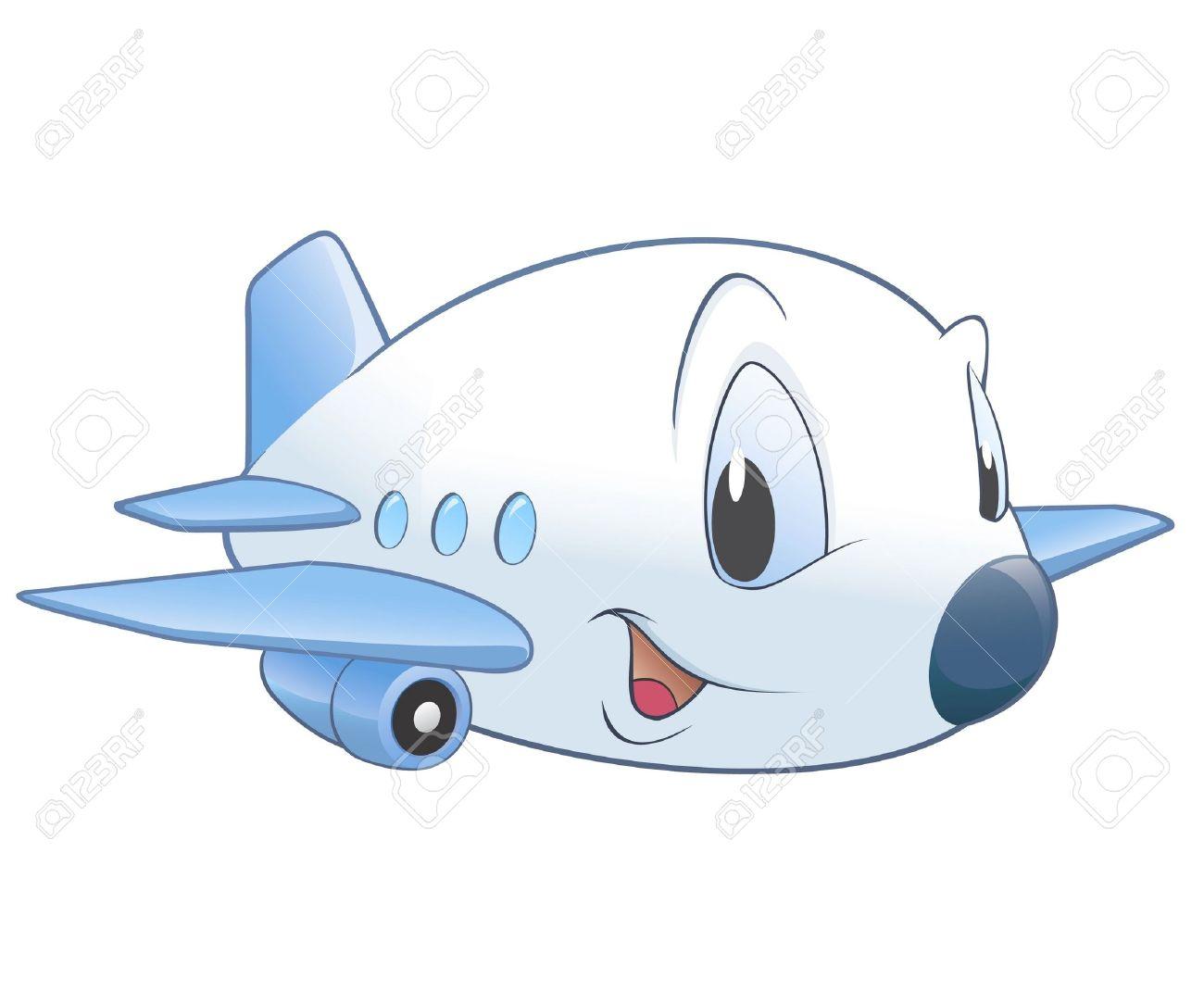 かわいい漫画の飛行機のベクトル イラスト放射状グラデーションなし