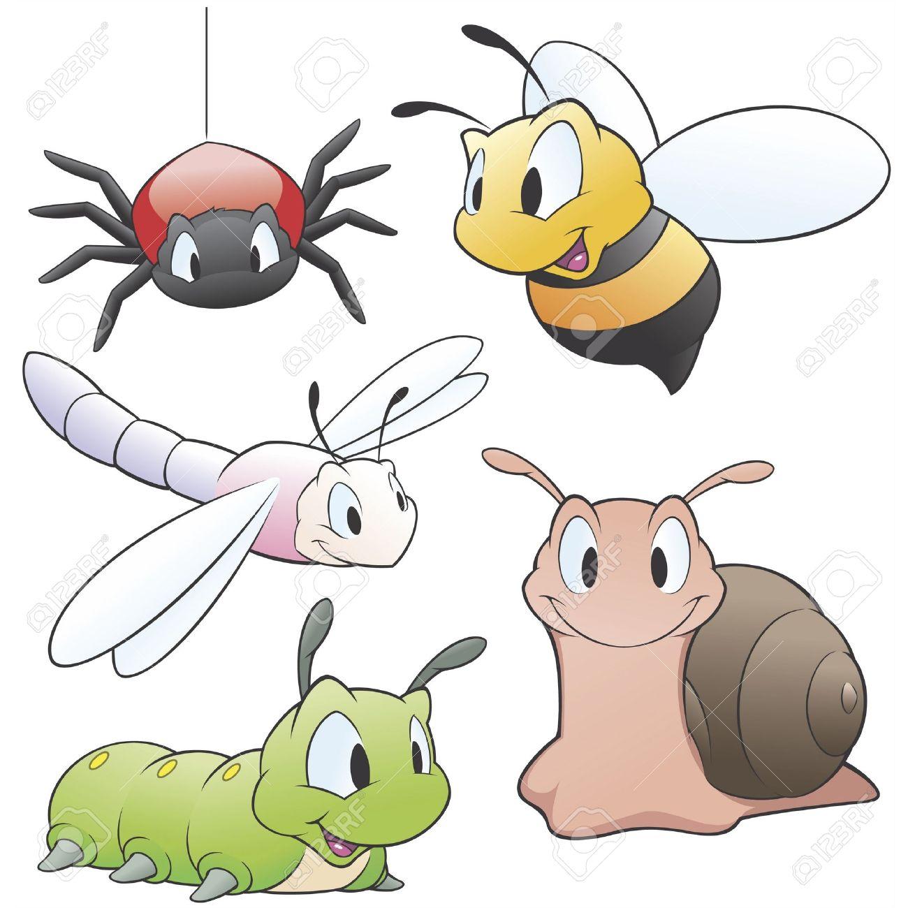 一連のデザイン要素のための漫画庭の動物のベクトル イラスト。グループ