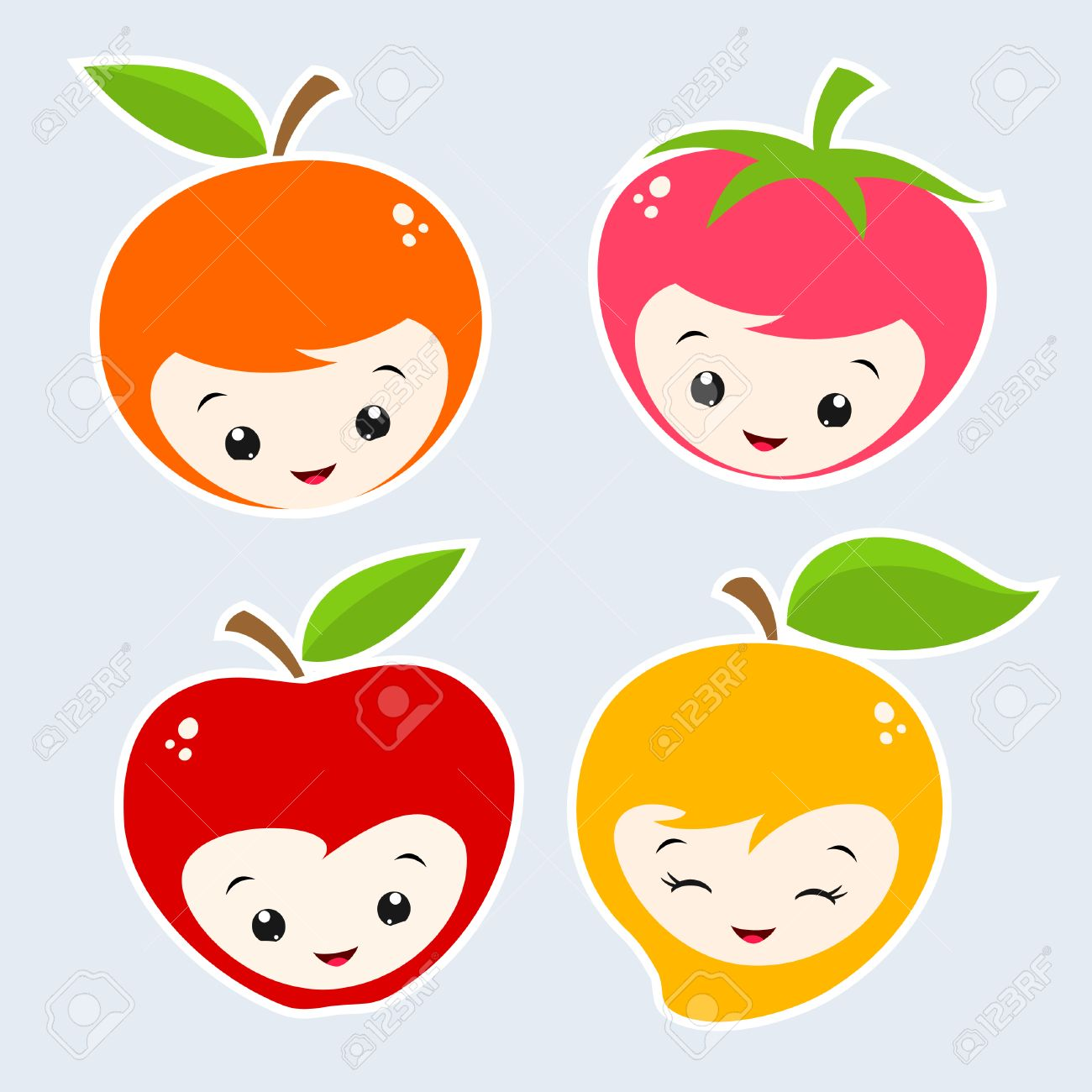 cute cartoon fruit faces royalty free cliparts vectors and stock
