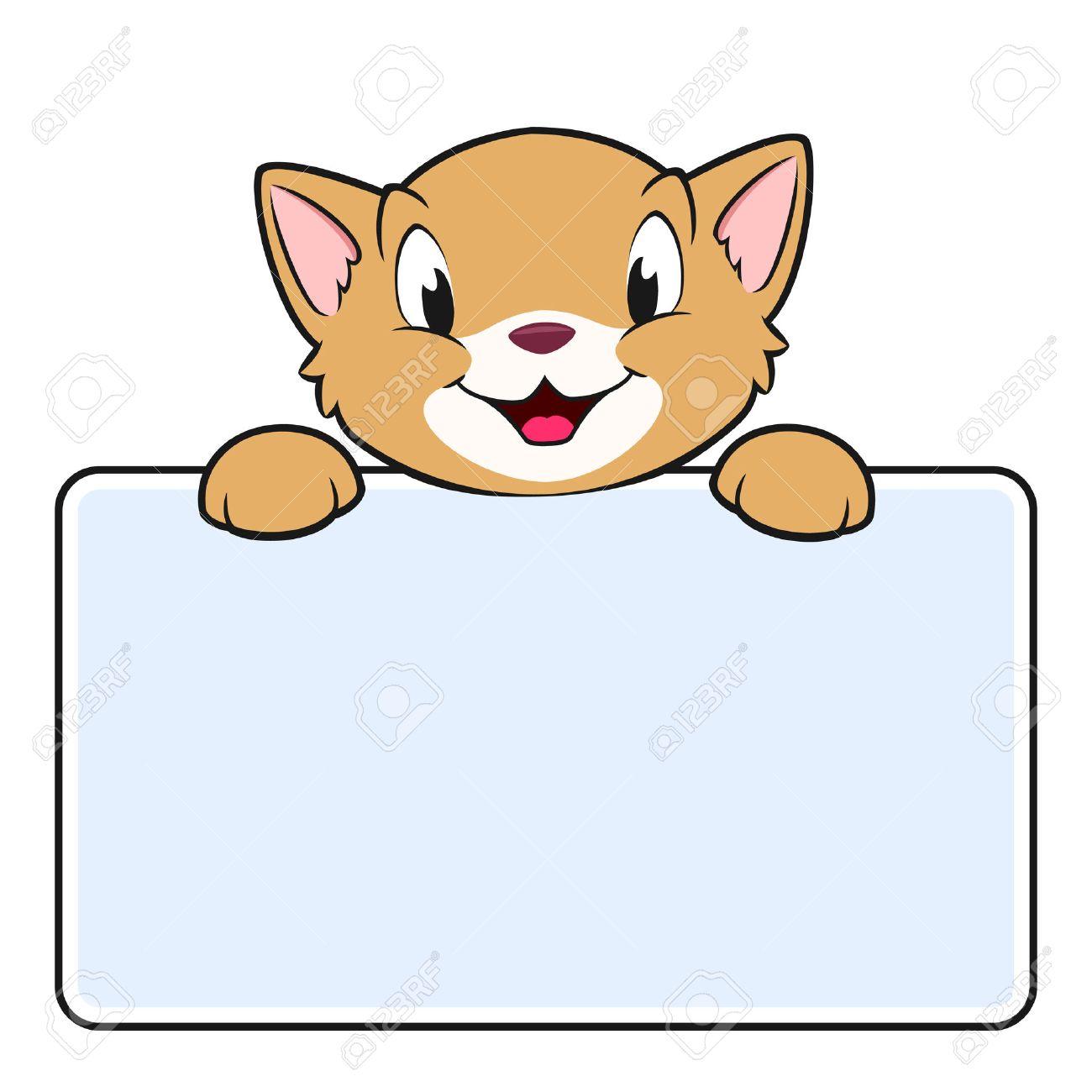 4728645a2d1f8 Foto de archivo - Ilustración vectorial de un gato de dibujos animados con  un cartel en blanco