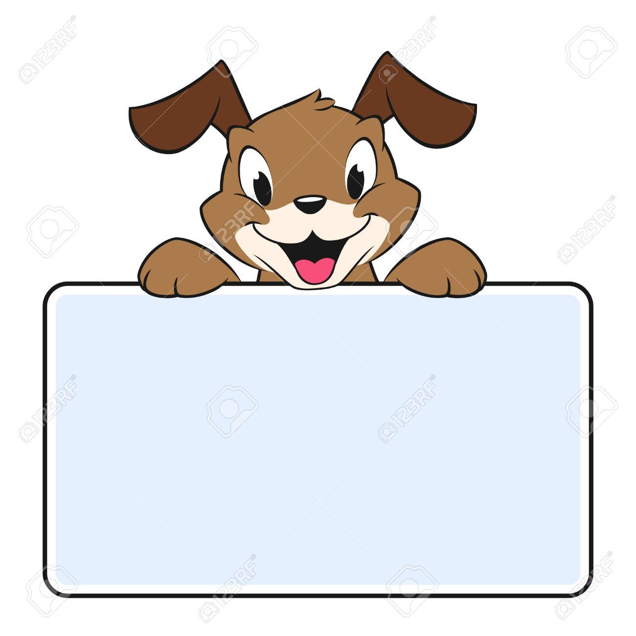 63f2d7ea54c78 Foto de archivo - Ilustración del vector de un perro de dibujos animados  con un cartel en blanco