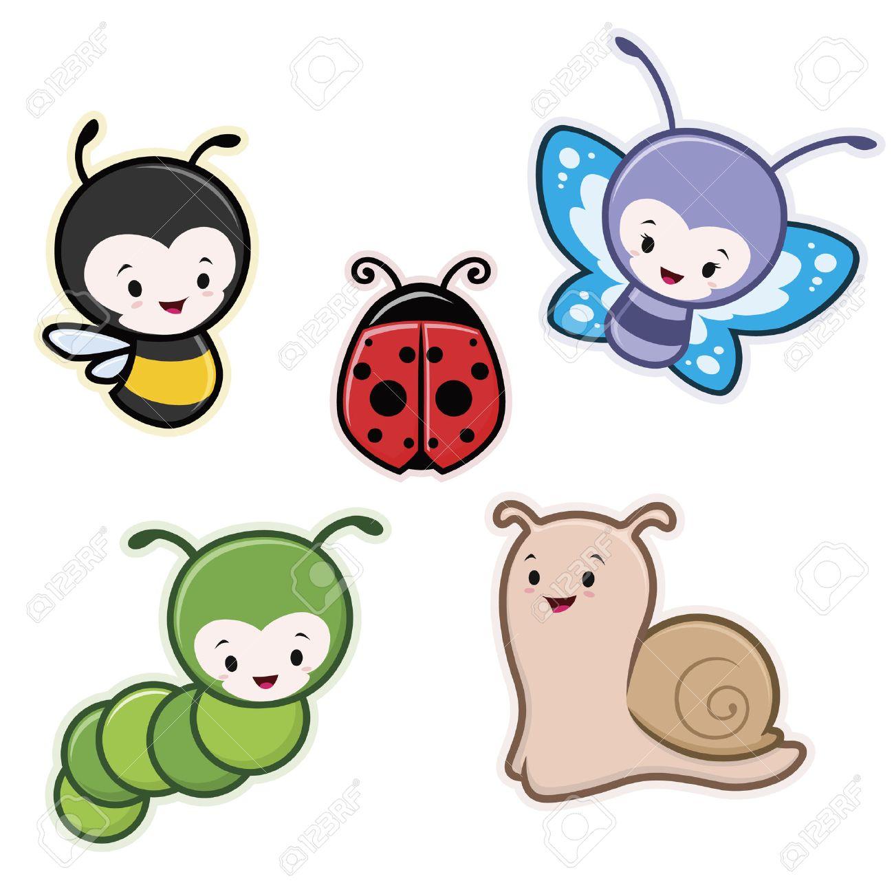 Vector   Vector Illustration Of Cute Cartoon Insects Garden Animals