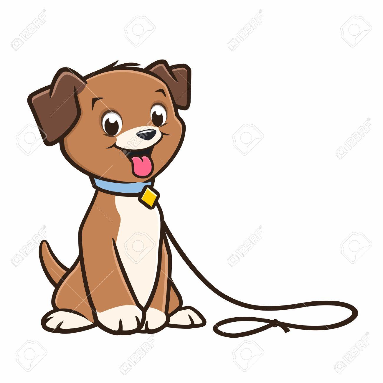 vector cartoon cute puppy in a leash royalty free cliparts vectors rh 123rf com cartoon puppy dog pictures puppies cartoon pictures cute