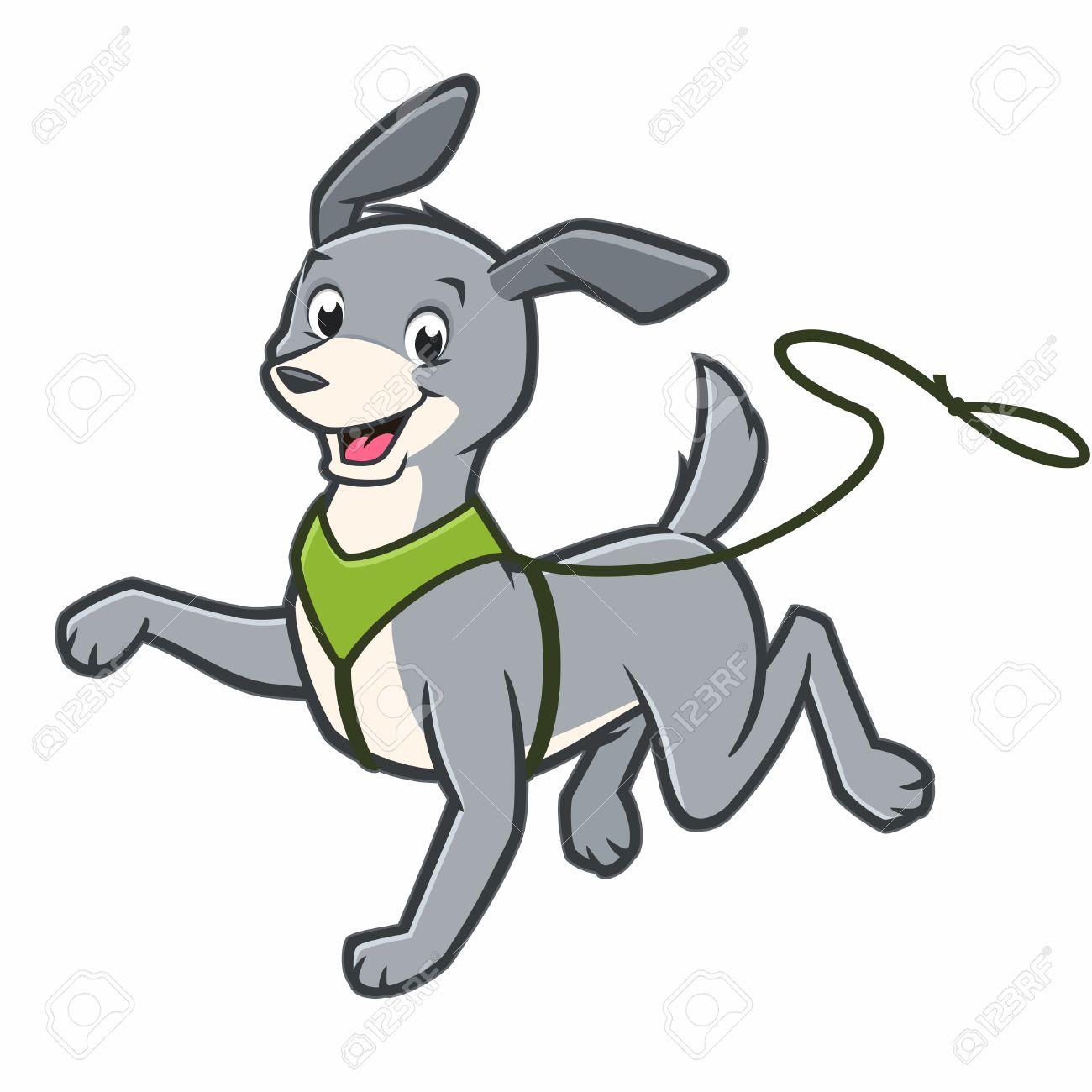 Vector Cartoon Happy Dog Walking On Leash Royalty Free Cliparts Vectors And Stock Illustration Image 69151193