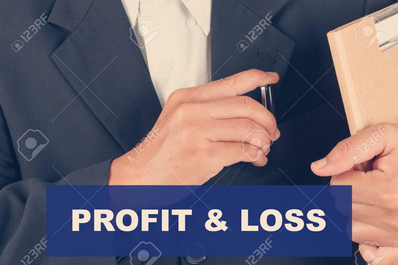 Gewinn-und-Verlust-Angebote - Geschäftsmann, Hintergrund-Retro ...