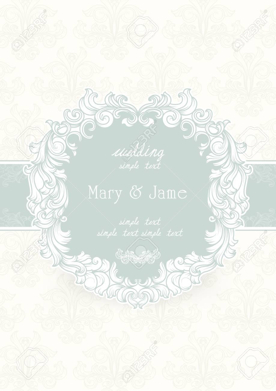 Wedding Invitation Card Vintage Ornate Card Decorative Floral