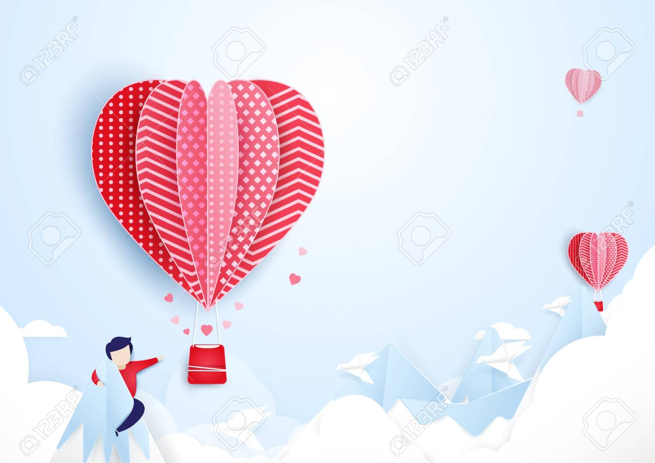 Vector young man finding love concept hot air balloons flying over on mountains and cloud paper art style design