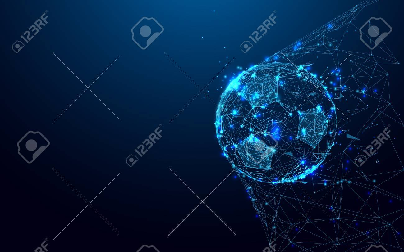 Soccer ball in goal from lines and triangles, point connecting network on blue background. Illustration vector - 88047295