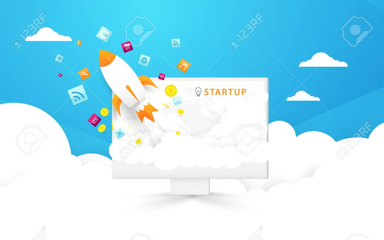 Start up background  Computer and Rocket launch out to the sky