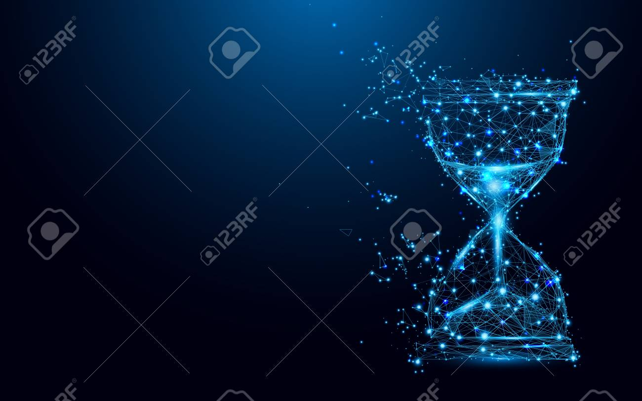 Hourglass icon from lines and triangles, point connecting network on blue background. Illustration vector - 90097353