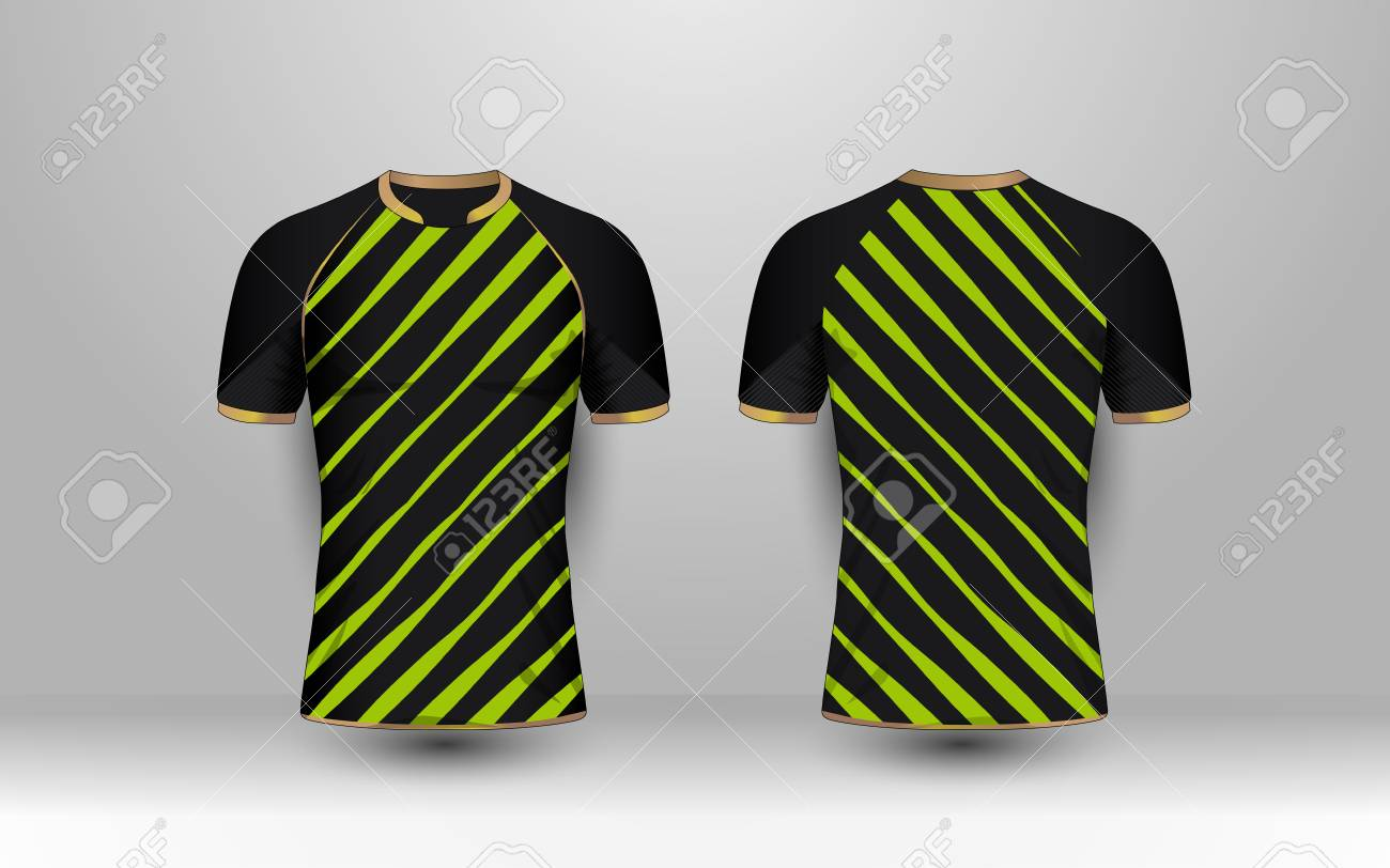 Black And Green Stripe With Gold Pattern Sport Football Kits
