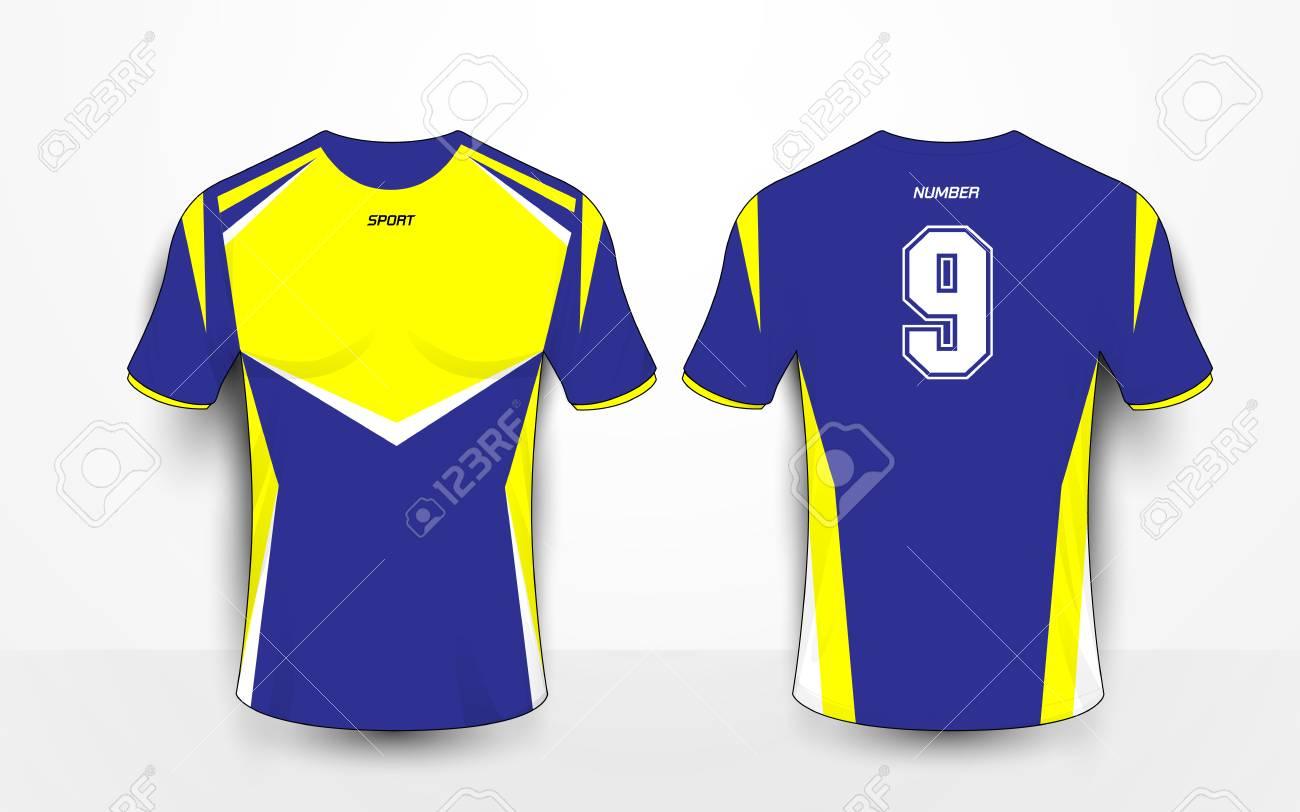 Blue and yellow sport football kits, jersey, t-shirt design template