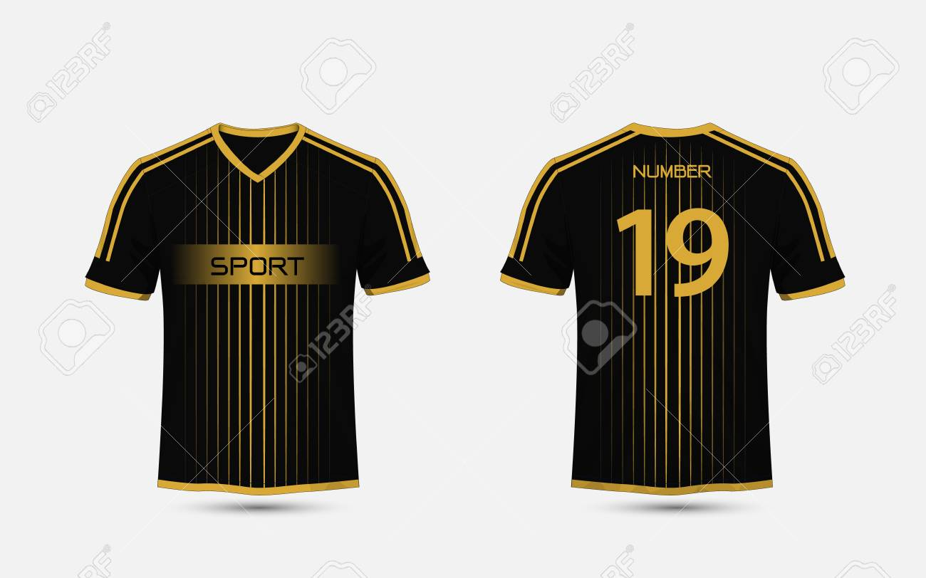 Black And Gold Pattern Sport Football Kits Jersey T Shirt Design