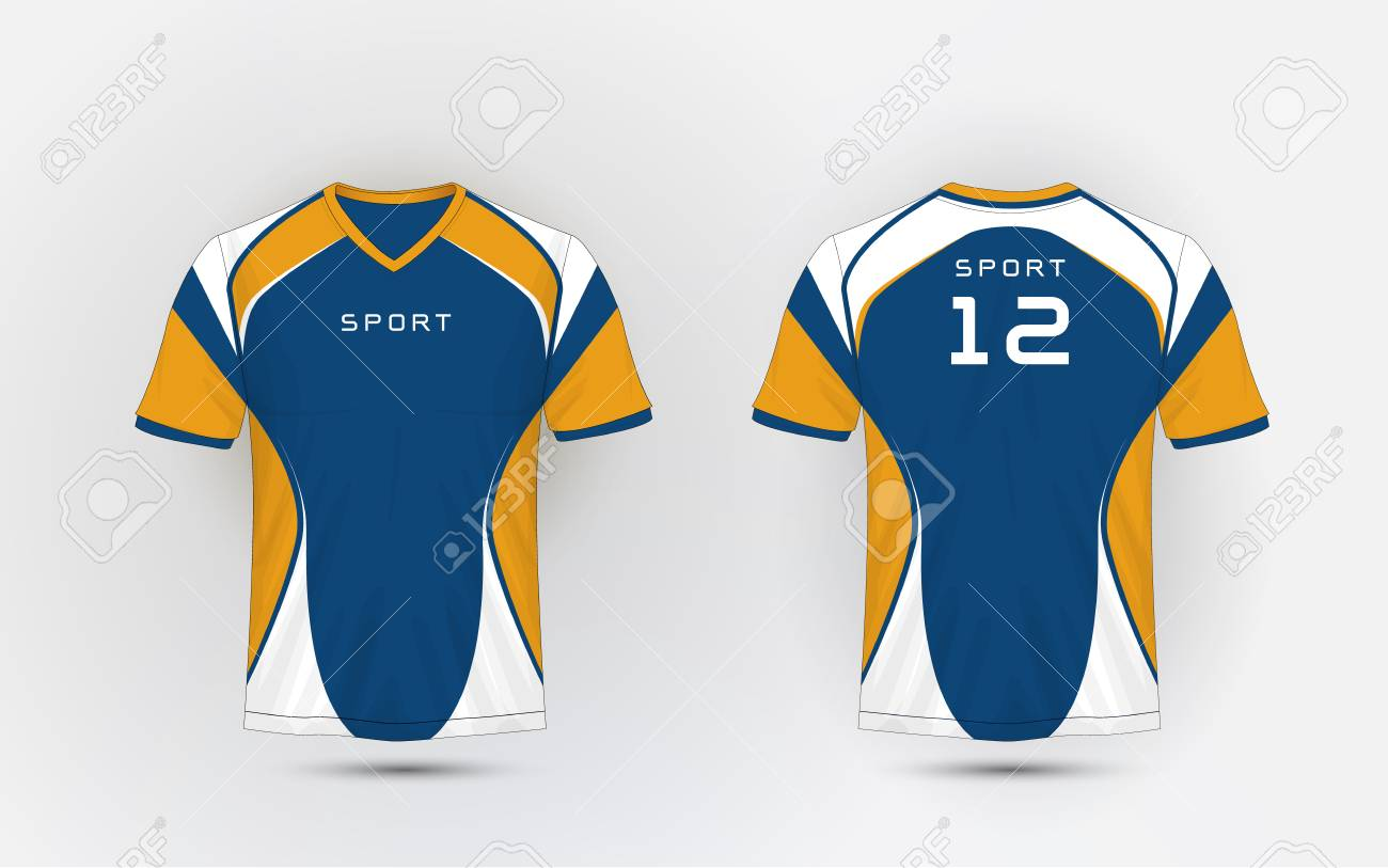 98899f36 Blue, White and orange stripe pattern sport football kits, jersey, t-shirt