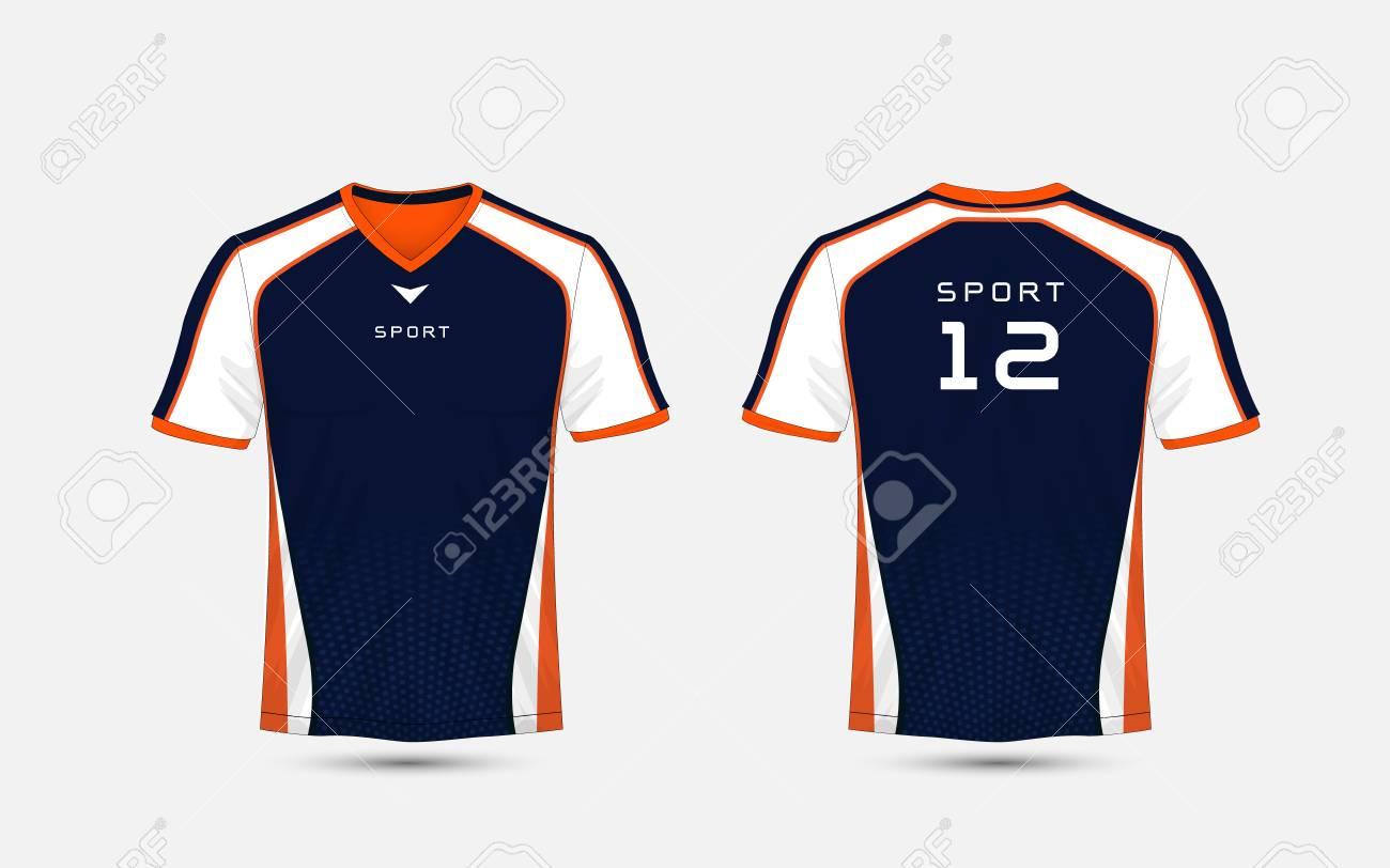 9160da18 Blue, White and orange pattern sport football kits, jersey, t-shirt design