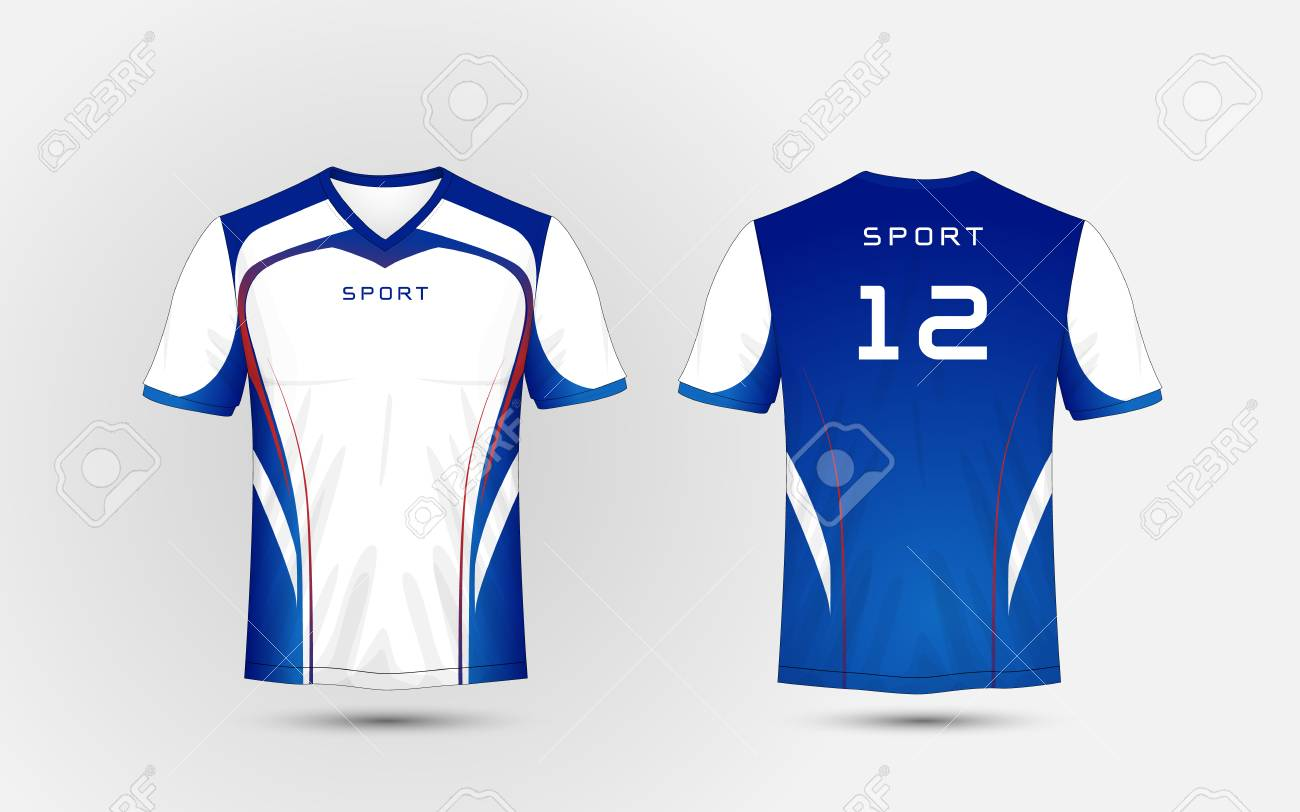 White Blue And Red Lines Pattern Sport Football Kits Jersey