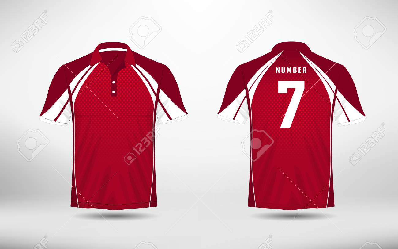Red An White Lines Layout Football Sport T Shirt Kits Jersey