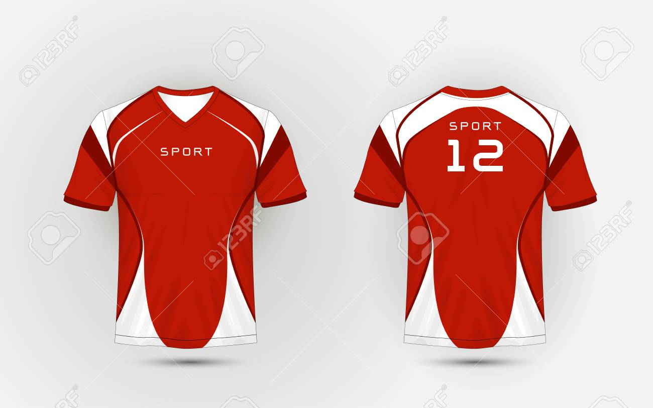 Red And White Pattern Sport Football Kits Jersey T Shirt Design