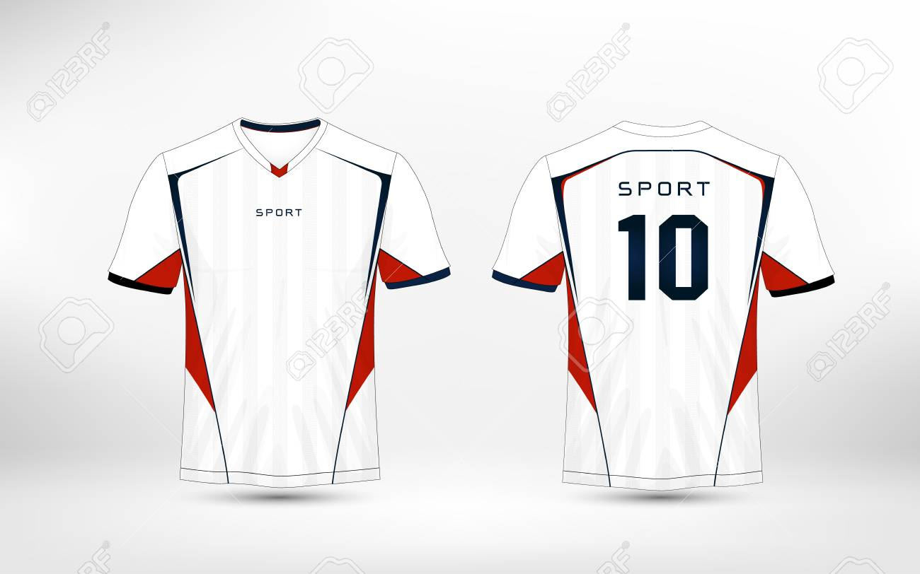 White Red And Blue Pattern Sport Football Kits Jersey T Shirt