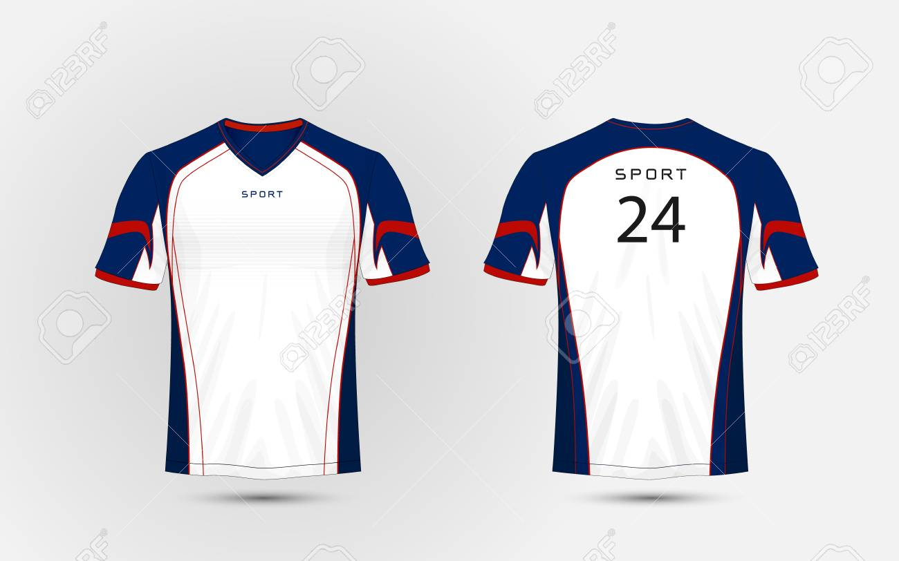 2738d670 White, Blue and red pattern sport football kits, jersey, t-shirt design