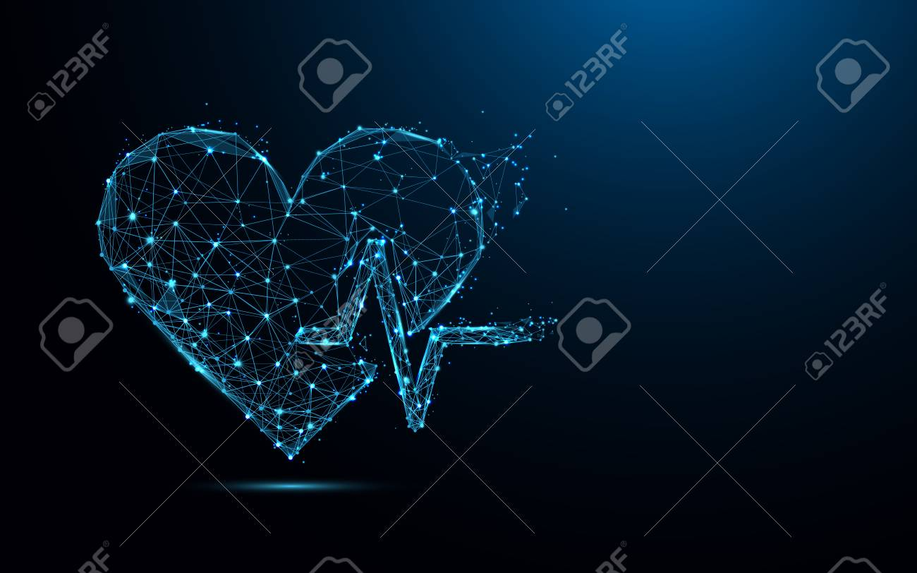 Abstract heart beat form lines and triangles, point connecting network on blue background. Illustration vector - 99913937