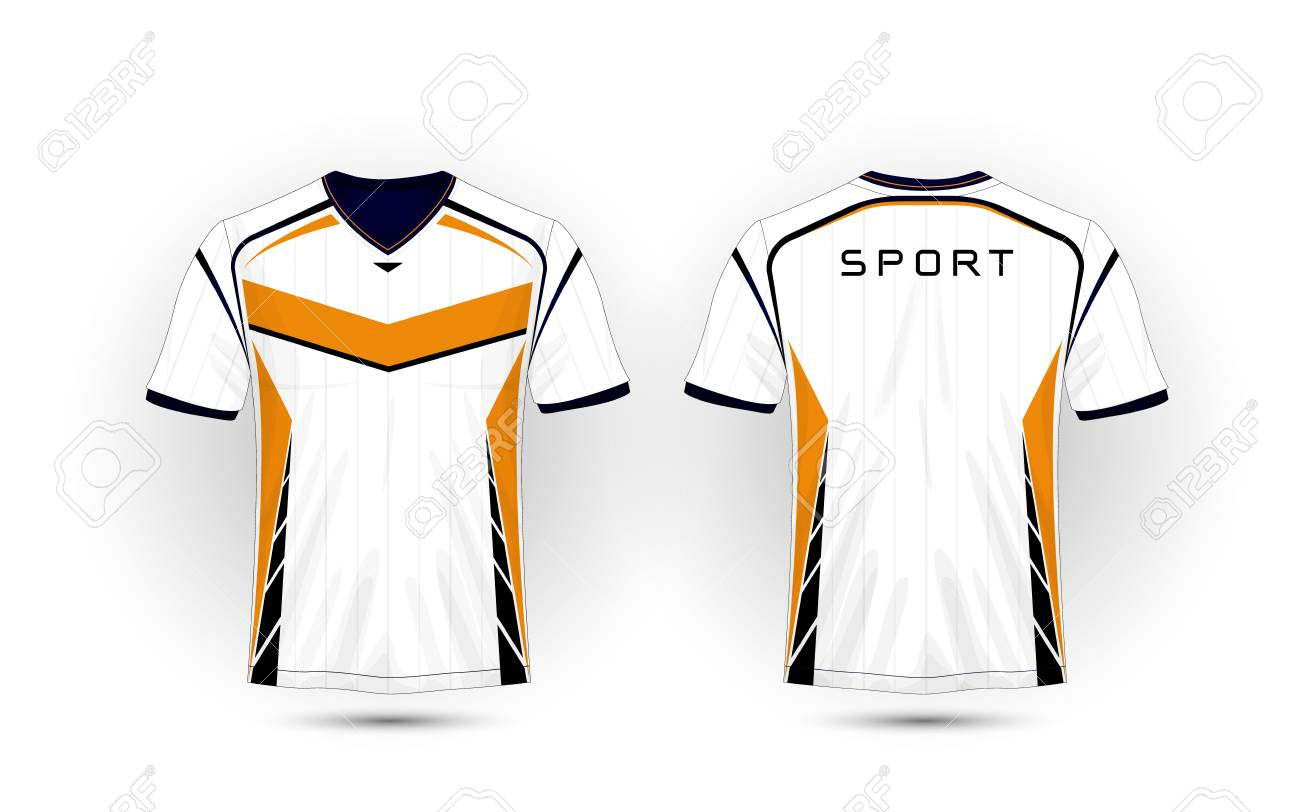 White Orange And Black Layout Football Sport T Shirt Kits