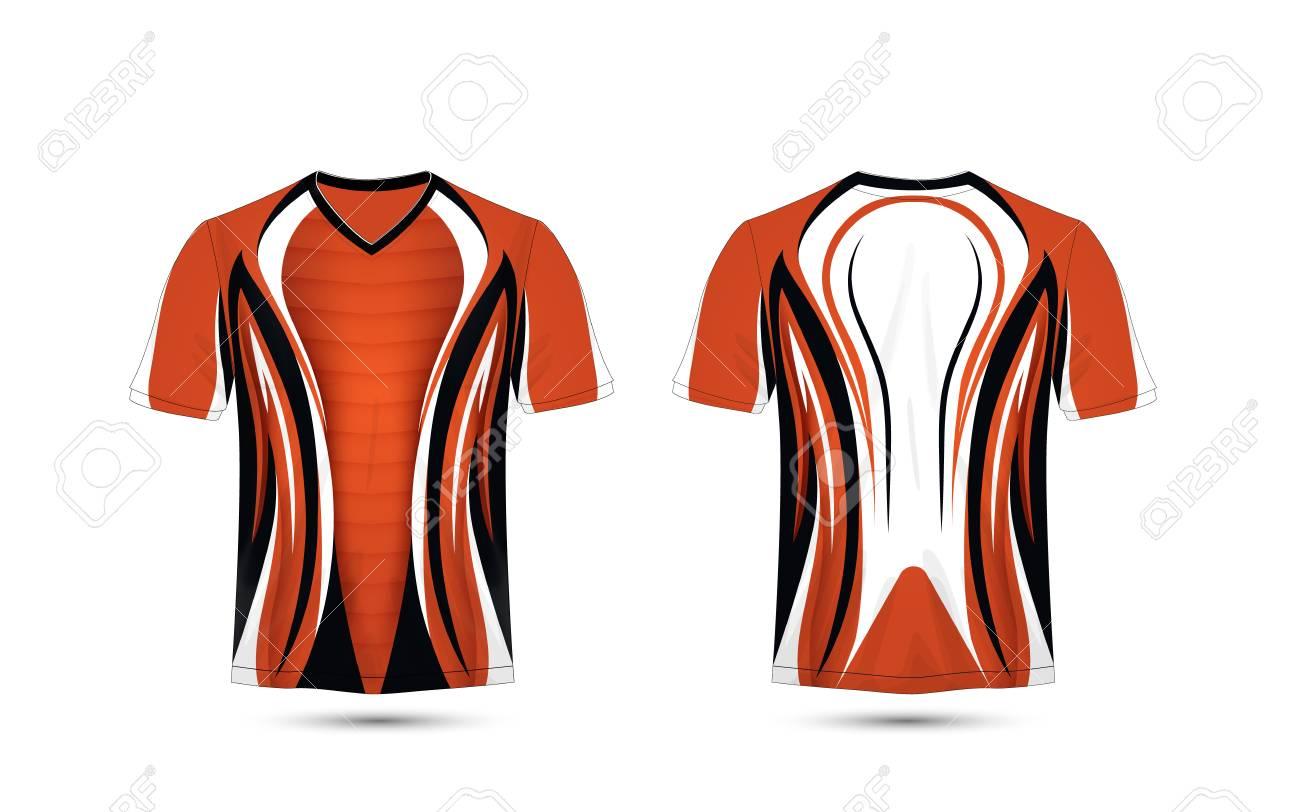 Orange White And Black Layout E Sport T Shirt Design Template