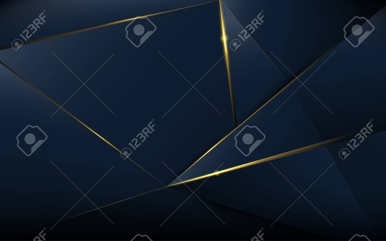 Abstract polygonal pattern luxury dark blue with gold - 104715202