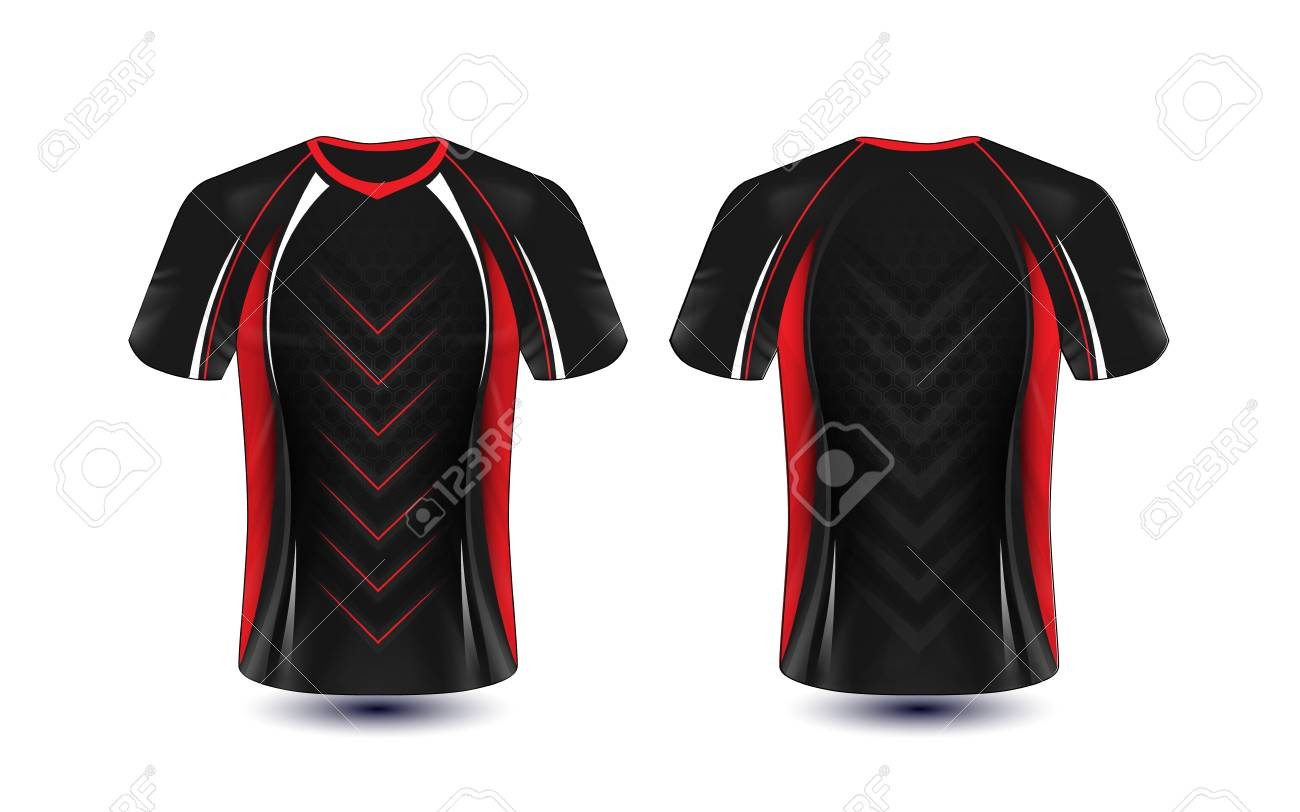 Black Red And White Layout E Sport T Shirt Design Template Royalty