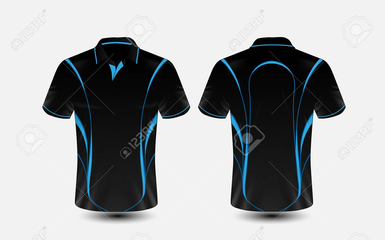 Blue And Black Layout E Sport T Shirt Design Template Royalty Free