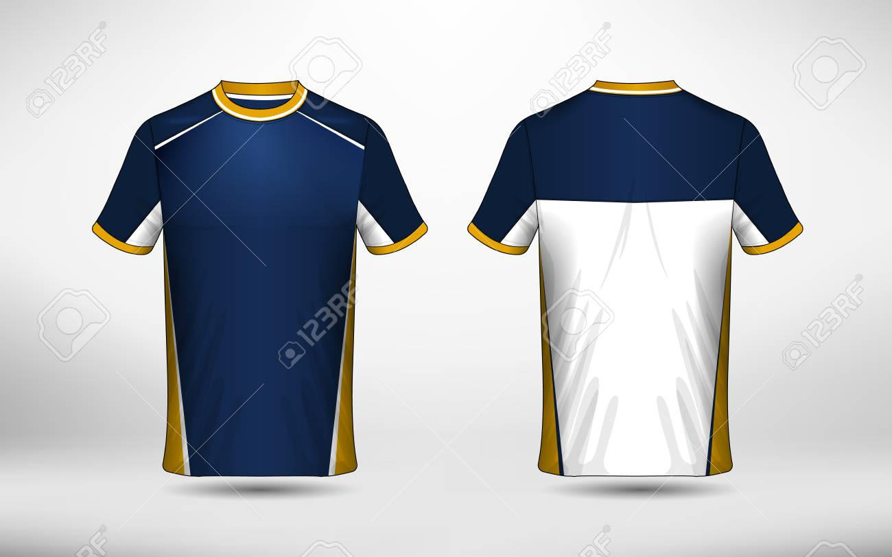 Blue White And Yellow Layout E Sport T Shirt Design Template Royalty