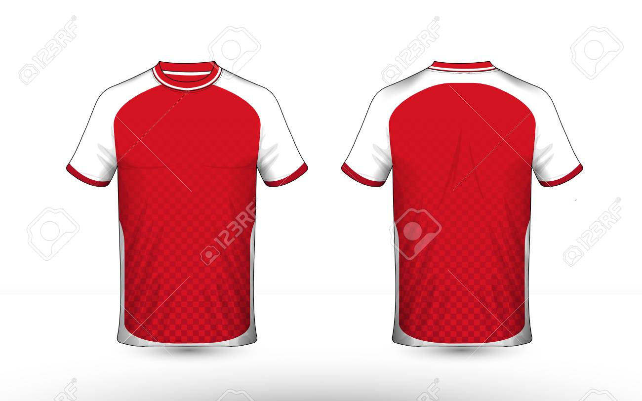 Red and white layout e-sport t-shirt design template - 120248855
