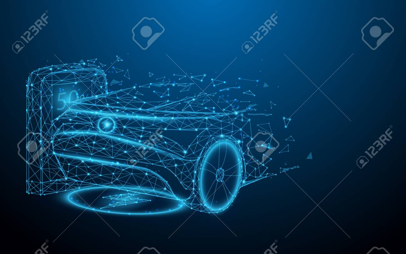 Electric car at charging station from lines, triangles and particle style design. Illustration vector - 122687781