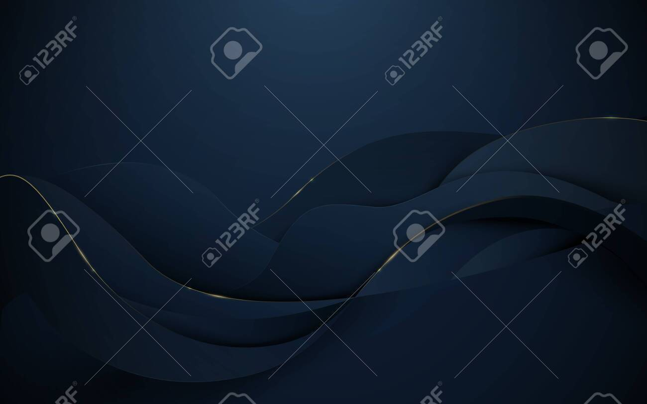 Abstract 3d wavy pattern luxury dark blue with gold background - 132612314