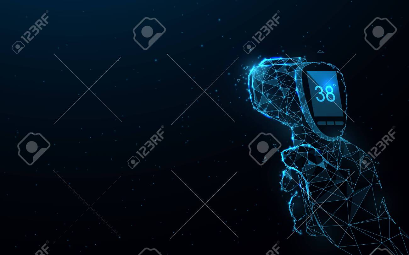Covid-19 Coronavirus concept. Hand holding thermometer gun. Coronavirus detection temperature concept. Temperature Measurement Device - 143479647