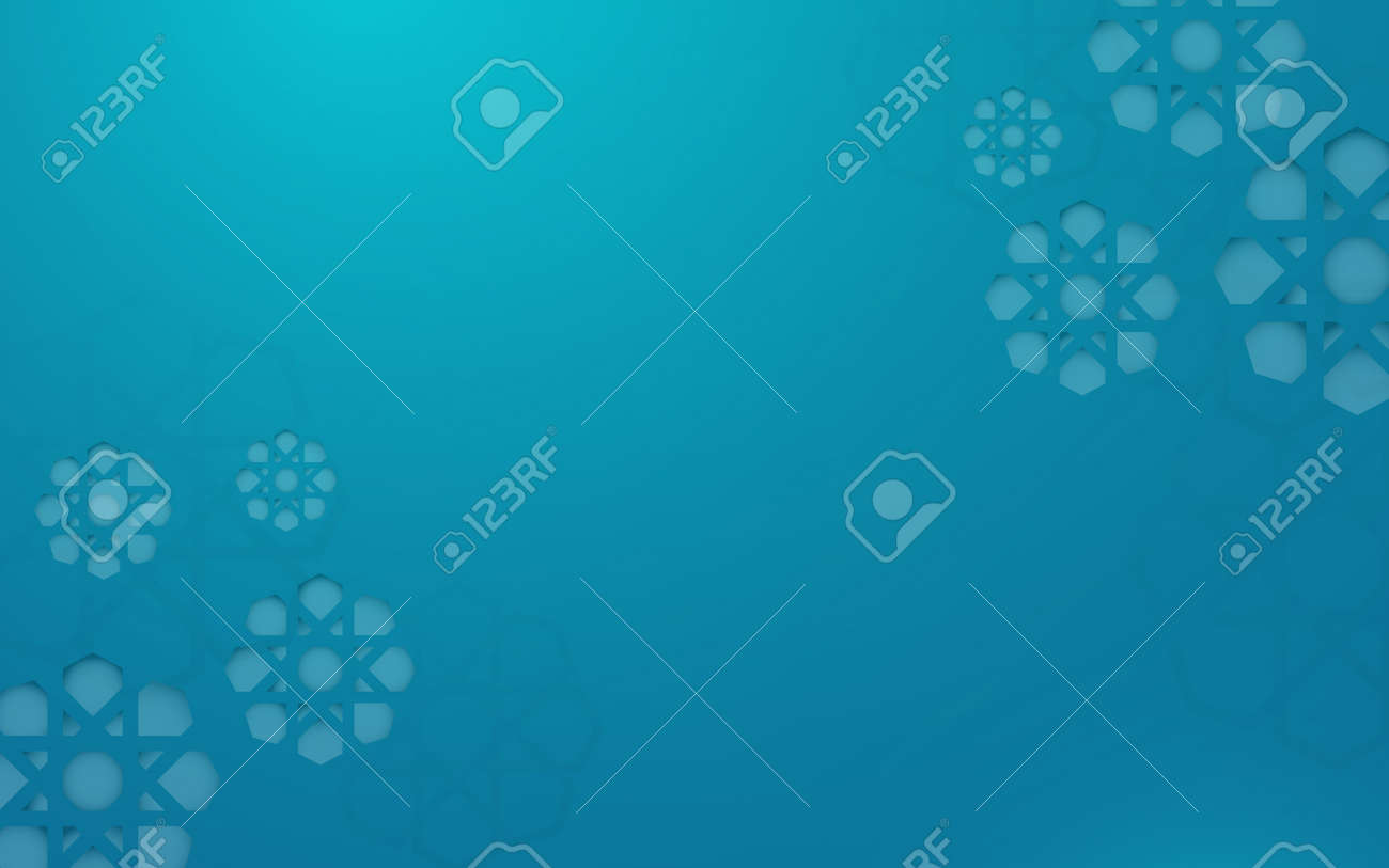 Abstract geometric Islamic decoration pattern on blue space for your design background. Vector illustration - 169445340