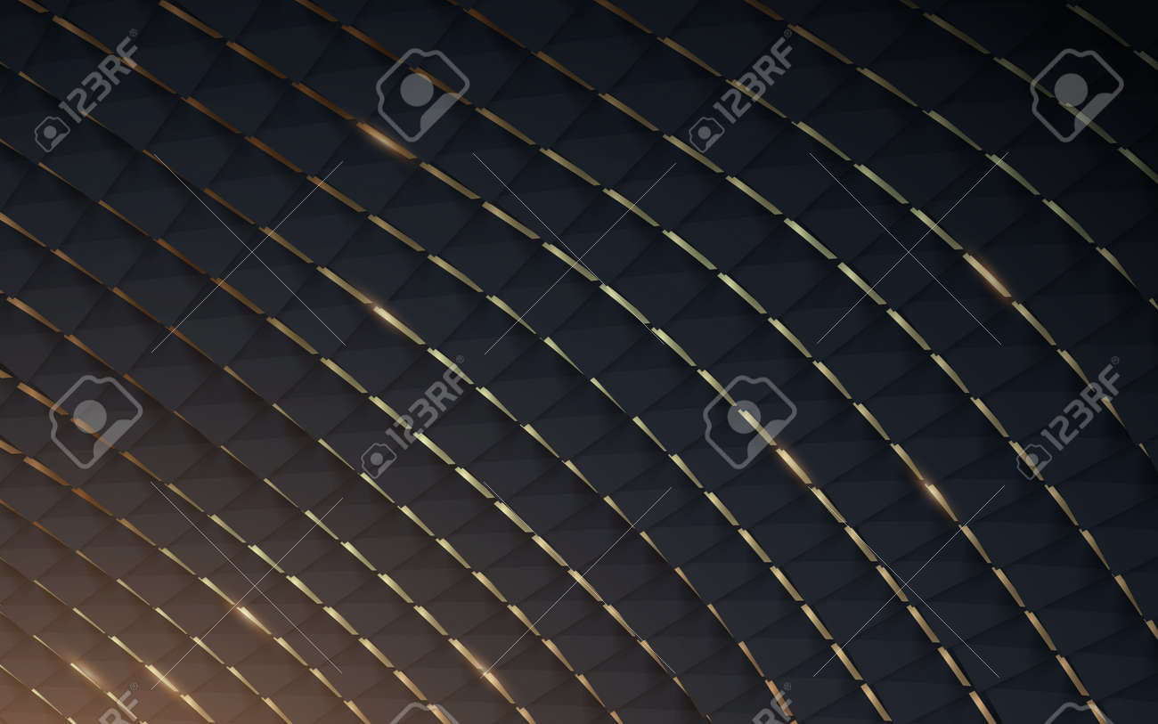 Abstract dark blue and gold geometric curves overlap the background. Vector illustration - 169445339