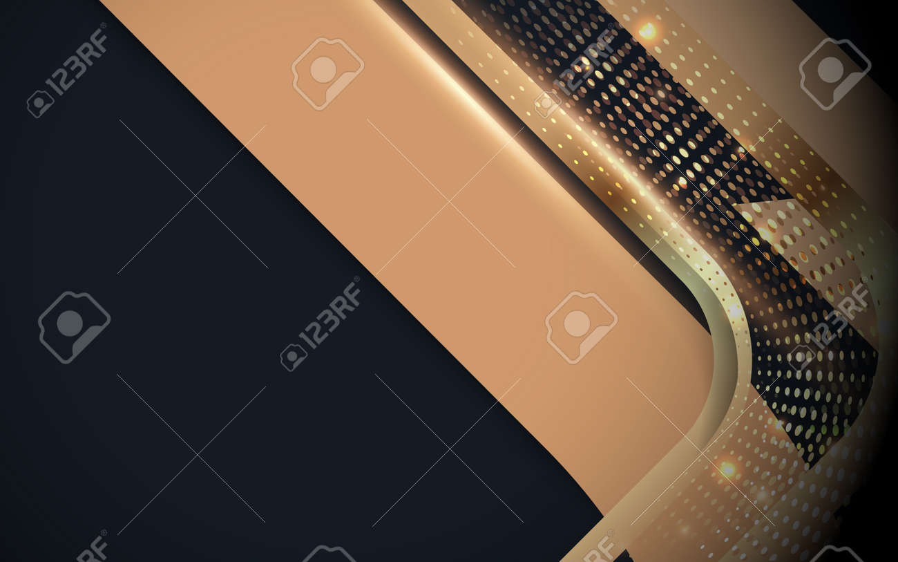 Abstract gold luxury geometric, halftone, and glowing light on dark blue background. Vector illustration - 169445352