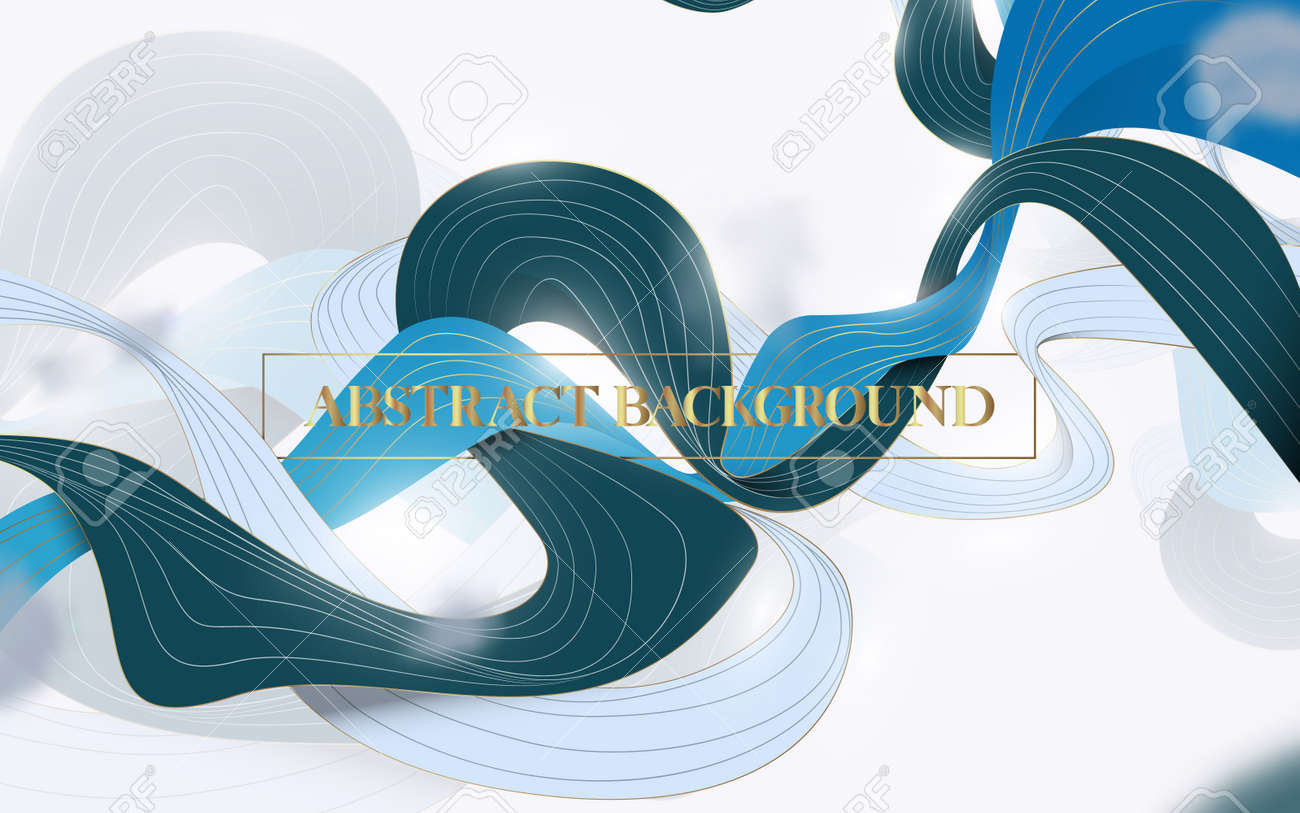 Abstract Wave liquid shape in blue, green, white, and gold color background. Vector illustration - 169445353