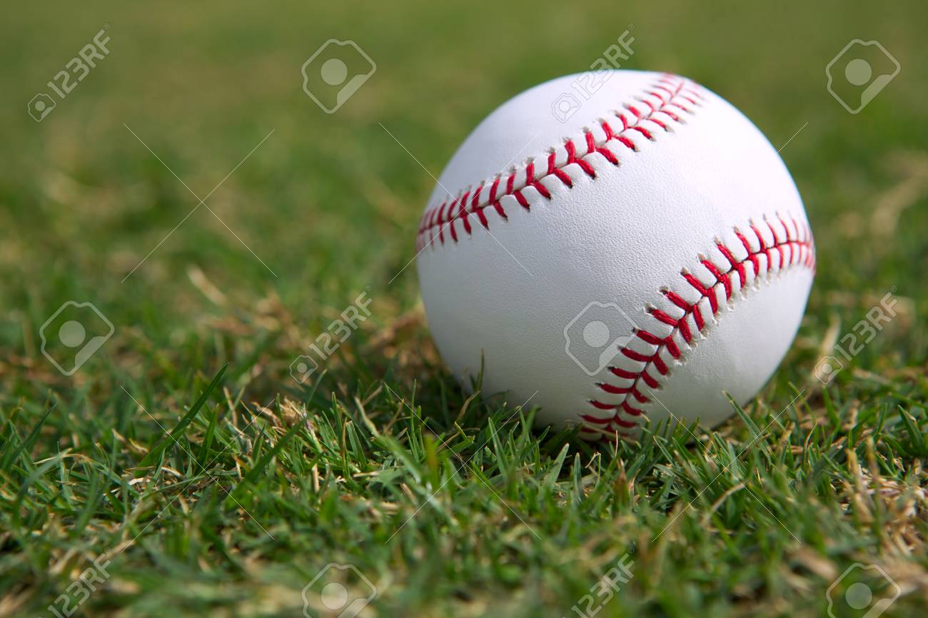 Baseball on the Outfield Grass Close up Stock Photo - 23170736