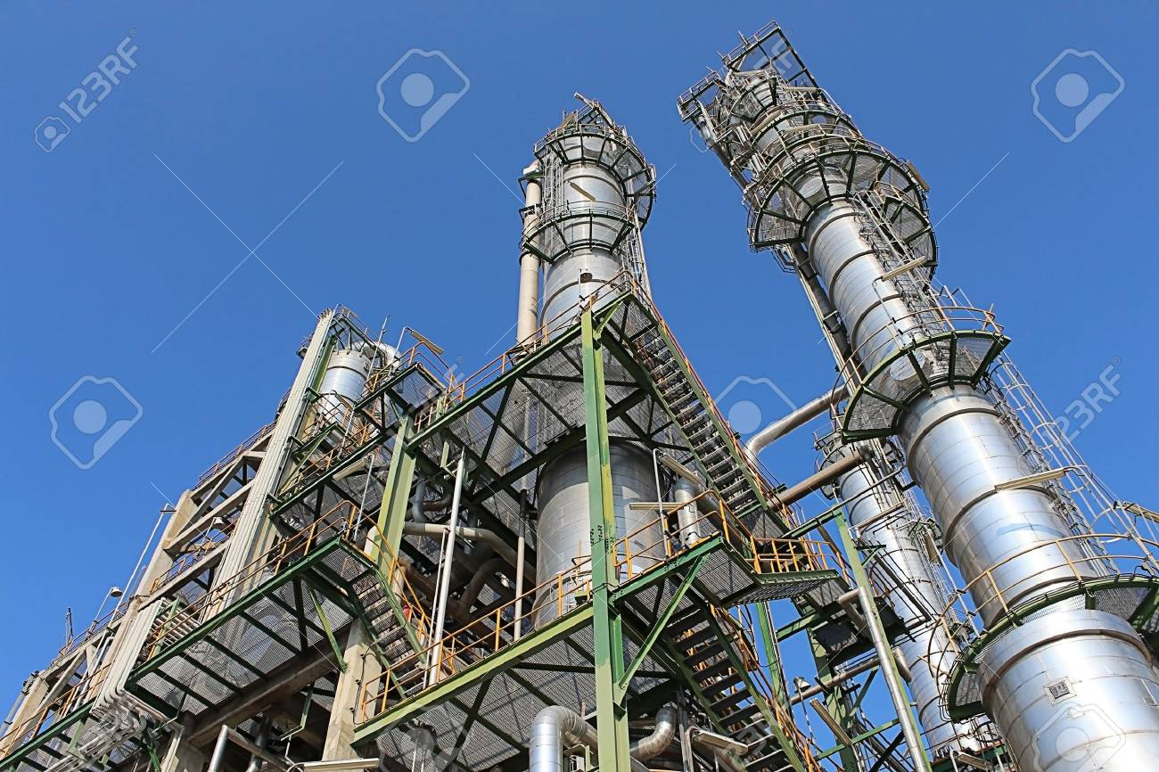 Petroleum and chemical plant with blue sky - 17437146