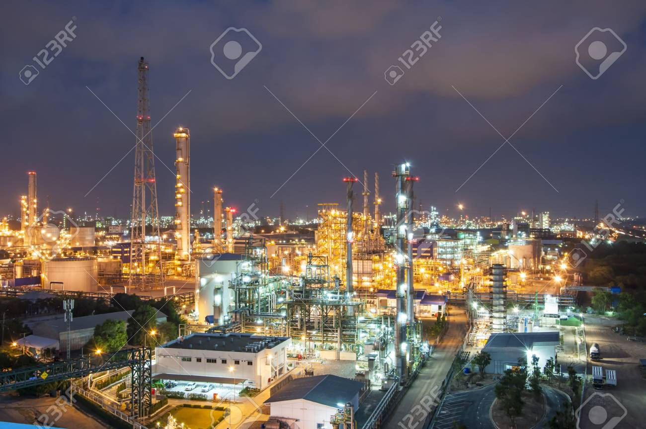 Night scene of chemical plant , Eastern of Thailand - 18002705